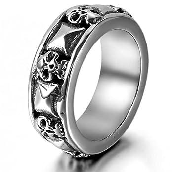 JewelryWe Herren-Ring, Gotik Totenkopf Schädel Edelstahl