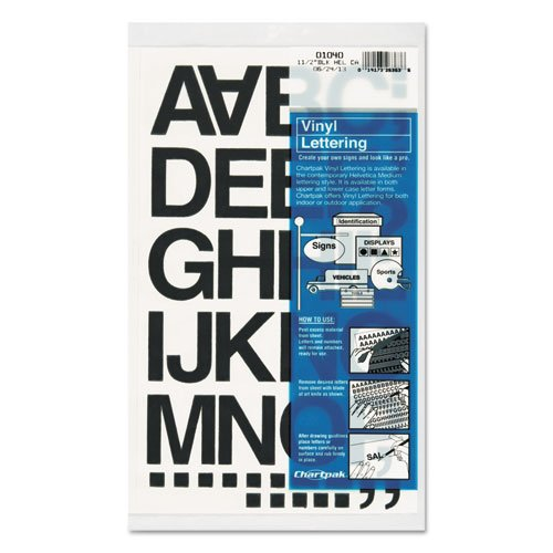 Vinyl Letters Chartpak (Chartpak Products - Chartpak - Press-On Vinyl Letters amp;amp; Numbers, Self Adhesive, Black, 1 1/2amp;quot;h, 37/Pack - Sold As 1 Pack - For signs, posters and equipment identification. - Self adhesive vinyl will stick to most clean, dry surfaces. - Can be used indoors or outdoors.)