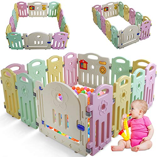 Baby Playpen for Babies Baby Play Playards 14 Panels Infants Toddler Safety Kids Play Pens Indoor Baby Fence with Activity Board