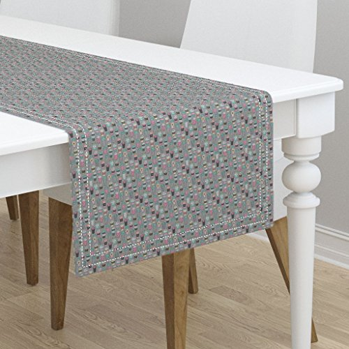 Table Runner - Coffee Latte Cafe Coffee Fabric Tea Tiny Small by Caja Design - Cotton Sateen Table Runner 16 x - Cafe Runner Latte Table