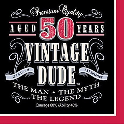 Creative Converting Vintage Dude Beverage Napkins (Party Pack: 48 Count)