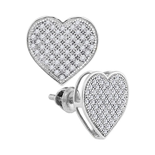 Round Diamond Earrings Shaped Heart - 10k White Gold Diamond Heart Stud Earrings Love Studs Round Cluster Style Pave Set Screwback 1/3 Cttw