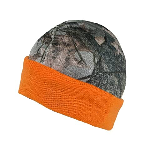 3 Oaks Mens Reversible Camo Orange Hunting Fleece Beanie Hat, Orange/Camo - Loose Forms Pack