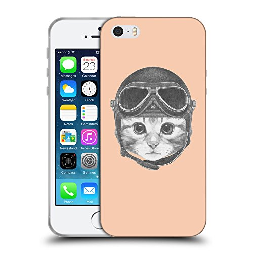 GoGoMobile Coque de Protection TPU Silicone Case pour // Q05280604 Casque kitty Abricot // Apple iPhone 5 5S 5G SE