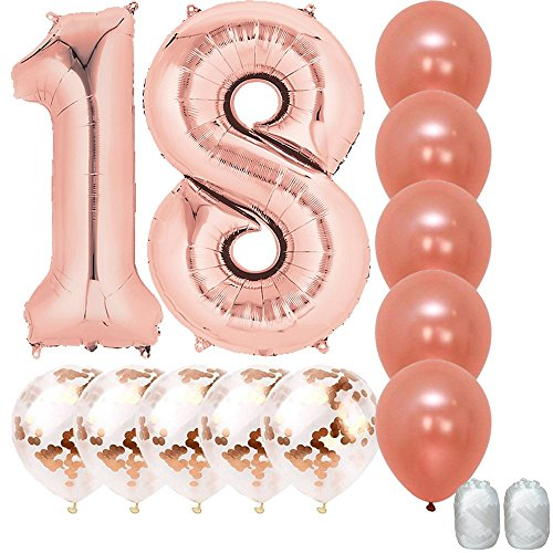 Jumbo 40 inch Mylar Foil Rose Gold Balloon Number 18, with 5 Confetti Balloons and 5 Rosegold Latex Balloons and Bonus String for Happy Birthday Party Supplies