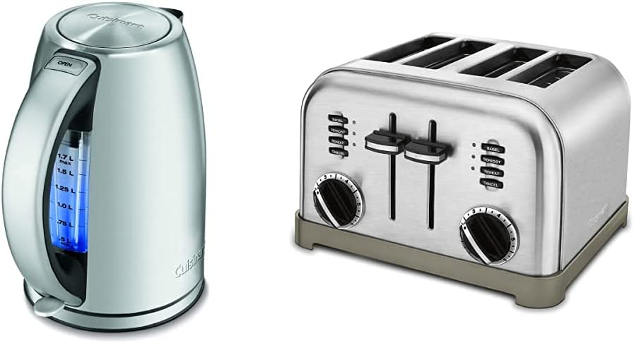 Cuisinart JK-17 Cordless Electric Kettle, 1.7 Liter, Stainless Steel & CPT-180P1 Metal Classic 4-Slice toaster, Brushed Stainless