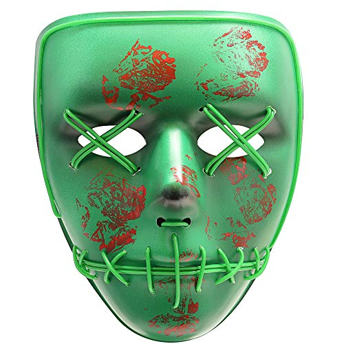 Halloween Scary Mask Cosplay Led Costume Mask EL Wire Light up Purge Mask for Halloween Festival Party