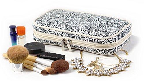 Jewelry & Accessories Travel Organizer Bag Case (White & Black Paisley Print Exterior & Beige Interior)