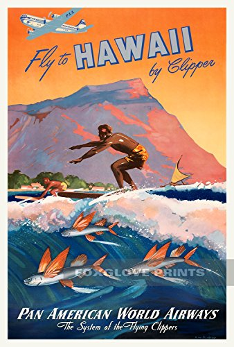 Foxglove Vintage Prints Fly to Hawaii by Clipper - Pan Am Travel Poster - Vintage Hawaiian Mid-Century Travel Poster Art, 24x36 inches (Poster Hawaii Travel)
