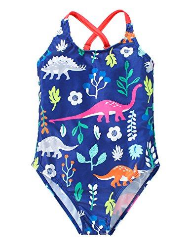FreeLu Baby Girls' One Piece Cartoon Swimsuit Animal Print Bathing Suit Ruffles Swimwear Cute Baby Bikini Beachwear(1# Dinosaur,3-4Yrs) from FreeLu