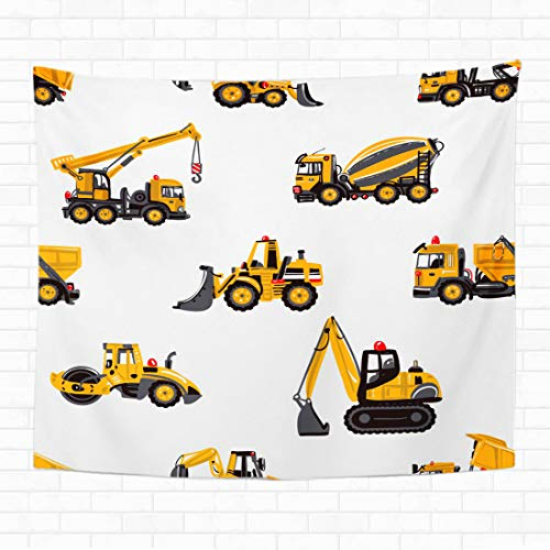 Topyee Home Decorative Tapestry Wall Hanging Road Roller Tractor Backhoe Loader Bulldozer Garbage Truck Concrete 60