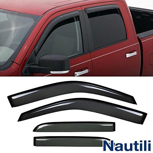 Laprive Auto 4pcs Side Window Deflectors Window Visors for 09-17 Ram 1500/2500/3500 Crew Cab Sun/Rain Guard Vent Visor (DO NOT FIT QUAD (Cab Vent Visor)