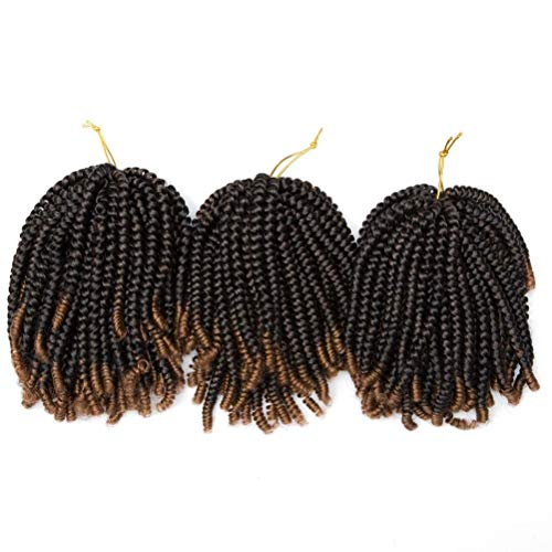 Spring Twist Crochet Hair Braids Synthetic Curly Hair Extensions For Braiding Pre Looped Ombre Spring Twists Low Temperature Black Blond Color 1B/30 8Inch 3Packs/Lot 330g from Refeeny