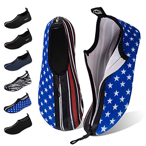 Water Shoes for Womens Mens Barefoot Quick-Dry Aqua Socks for Beach Swim Surf Yoga Exercise New Translucent Color Soles (Zip-American Flag, - Translucent Flags