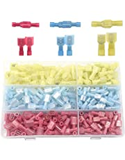Yosawa 320 Pieces Nylon Fully Insulated Male/Female Spade Wire Crimp Connector Quick Disconnects Wire Terminals Connector Set Red Blue Yellow (NLGM)