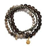 Satya Jewelry Smokey Quartz, Agate, Pyrite Gold Plate Ganesha Stretch Bracelet