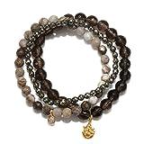 Satya Jewelry Smokey Quartz, Agate, Pyrite Gold Plate Ganesha Stretch Bracelet