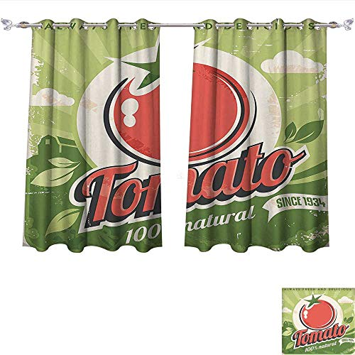 Qinqin-Home Window Curtain Fabric Vintage Vintage Tomato Poster with an Antique Paper Contemporary Ative Graphic Design Art Green Red Drapes for Living Room (W63 x L45 -Inch 2 Panels) ()