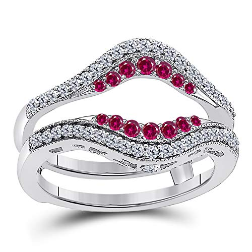 DreamJewels 14k White Gold Plated Alloy Double Row Pave Set Classic Style Halo Engagement Wedding Enhancer Ring Guard with CZ Red Ruby