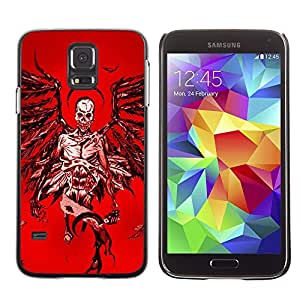 Eason Shop / Hard Slim Snap-On Case Cover Shell - Angel Death Red Blood Wings Skull - For Samsung Galaxy S5 SM-G900