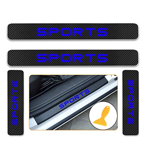 for Nissan X-Trail Rogue Murano Paladin NV200 D22 Carbon Fiber Door Sill Protector Scratch Door Sill Guard 4D Welcome Pedals Guards Threshold Sticker Sticker Blue 4Pcs