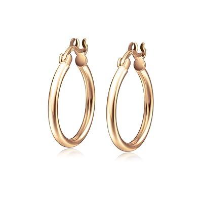 Boucles D oreilles Créoles Anneaux en Or Rose Plaqué 925 Argent Sterling  Cercle Charnière pour 7fb5e63314e5