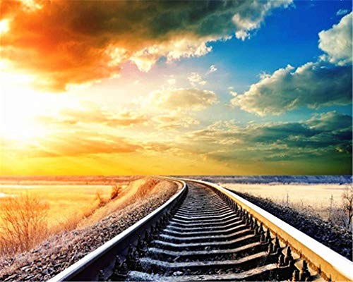 YEESAM ART DIY Paint Numbers Adults Beginner Kids, Colorful Sunset Sky Clouds Train Track 16x20 inch Linen Canvas Acrylic Stress Less Number Painting Gifts (Sky Frame)