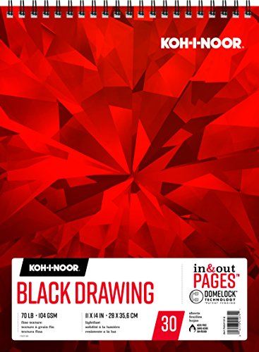 Koh-I-Noor Black Drawing Paper Pad with In and Out Pages, 70lb, 104 GSM, 11 x 14