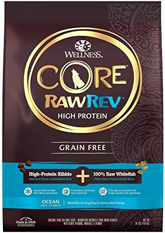 Wellness CORE RawRev Grain Free Natural Adult Dry Dog Food, Freeze Dried Meat & Kibble, Whitefish