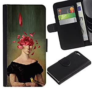 iKiki Tech / Cartera Funda Carcasa - Portrait Painting Art Face Rose Petals Symbolic - Apple iPhone 5 / 5S