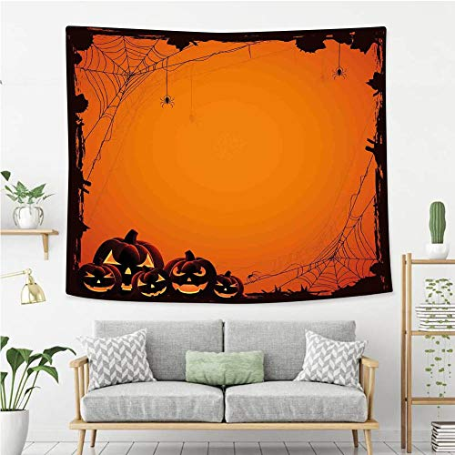 BEIVIVI Wall Tapestry Wall Hanging Halloween Decorations Grunge Spider Web Pumpkins Horror Time of Year Trick or Treat Orange Seal Brown Wall Tapestry with Art Nature Home Decorations]()