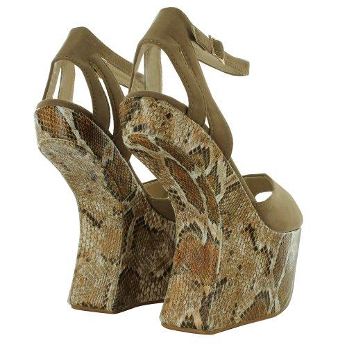 Footwear Sensation - Sandalias de vestir para mujer Beige - Beige Snake