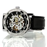 Seasonwind Luxury Fashion Mechanical Hand Movement Leather Skeleton Men Commercial Wrist Watch Black