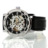 Seasonwind Luxury Fashion Mechanical Hand Movement Leather Skeleton Men Commercial Wrist Watch Black