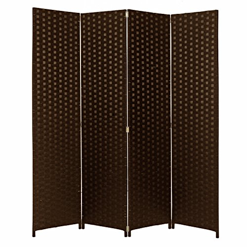 Dark Brown Wood & Woven Paper Rattan Freestanding
