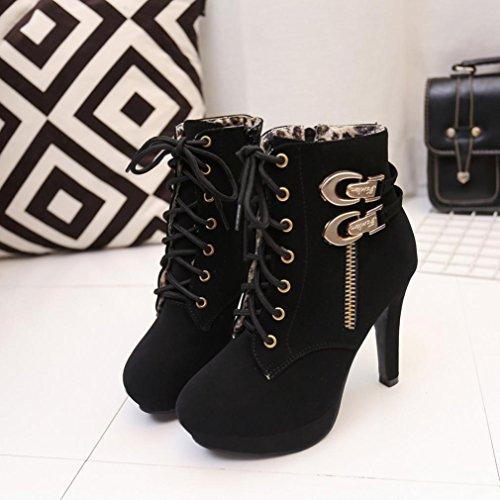 de mujeres botas encaje de alto delgado tacón de Zapatos atractivas de tobillo plataforma Mujer Tefamore botas negro zapatos Las tacón RwtqxaFP