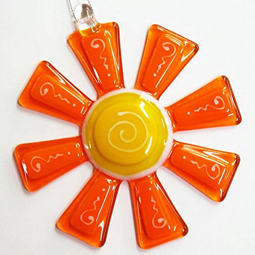 Glassworks Northwest - Brilliant Tangerine and Marigold Flower Suncatcher - Fused Glass Suncatcher