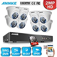 Annke 1080P 8CH Video Security System with 2TB Hard Drive and (8) HD 2MP 1920x1080p CCTV Cameras, IP66 Weatherproof Housing, Smart Search Playback&Motion Detection