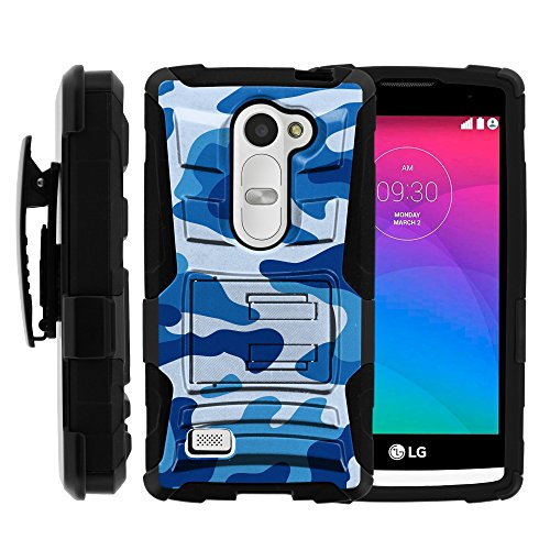 LG Power Case, LG Power Holster, Two Layer Hybrid Armor Hard Cover with Built in Kickstand and Unique Graphic Images for LG Leon C40, H340N, Tribute 2, Power L22C, Destiny L21G, Sunset L33L (T Mobile, Metro PCS, Boost Mobile, Straight Talk, Tracfone) from MINITURTLE   Includes Screen Protector - Blue Camouflage
