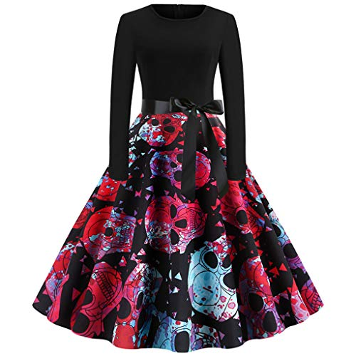 (iLOOSKR Women Vintage Printing Pleated Dress Long Sleeve Halloween Housewife Evening Party Prom)
