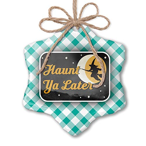 NEONBLOND Christmas Ornament Haunt Ya Later Halloween Witch Pastel Mint Green Plaid ()