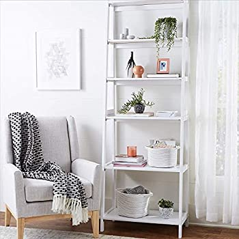 PJ Wood 5-Tier Bookshelf - White
