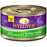 Wellness Grain Free Minced Turkey Natural Wet Canned Cat Food, 3-Ounce Can (Pack of 24)