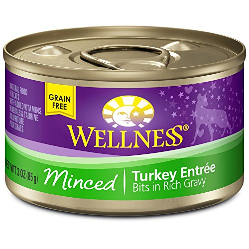 Wellness Natural Canned Grain Free Wet Cat Food, Minced Turk