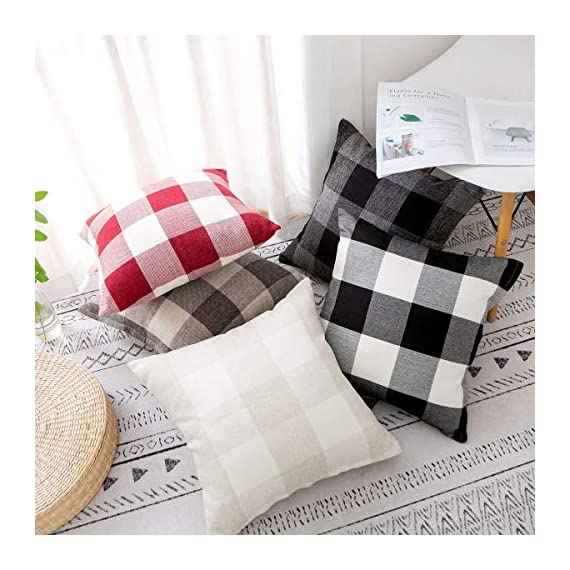 Vanky Set of 2 Buffalo Check Plaid Pillows Farmhouse Decor Christmas Pillow Covers Fall Outdoor Pillows Outside Porch Pillows Cotton Linen Throw Pillow Covers Black White 18 x 18 Inches - SIZE:18 x 18 Inch / 45 x 45cm.Square throw pillow covers Suitable for sofa, front porch,bed,living room,home,office,car seat,outdoor. MATERIAL:Grade A Cotton Linen,Classic Retro Plaids,This linen fabric can easily match with all styles of furniture.These cushion covers are also great gifts for each holiday,Like Halloween Thanksgiving Day, Christmas Day. Package includeds 2 pcs pillow covers without pillow inserts. - patio, outdoor-throw-pillows, outdoor-decor - 51AbUnC%2BfVL. SS570  -