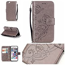 iPhone 5C Case Cover [with Free Screen Protector], Funyye Elegant Premium Folio PU Leather Wallet Magnetic Flip Cover with [Wrist Strap] and [Credit Card Holder Slots] Stand Function Book Type Stylish Butterfly Leaf Vines Designs Full Protection Holster Case Cover Skin Shell for Apple iPhone 5C - Gray