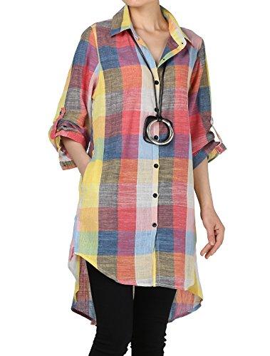 Longue Manche Haut Casuel Court Femme Robe Long Vogstyle Carreaux Blouse Orange Chemise Chic vOxBP