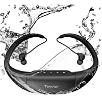 Tayogo Waterproof Swimming Sport Headphones – Hi-Fi Stereo Sound with Active Noise Cancellation – 8GB Memory Storage Holds Music, Podcasts, Audio Books – FM Radio and MP3 Player Black