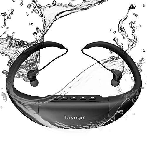 Tayogo 8GB Waterproof MP3 Player Swimming Headphones Support FM with Shuffle Feature - Black