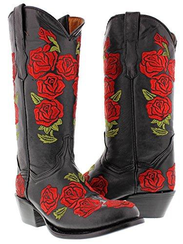 Cowboy Profesjonelle Kvinners Svart Rosal Vestlige Skinn Cowboy Boots Runde Toe 6,5 Bm